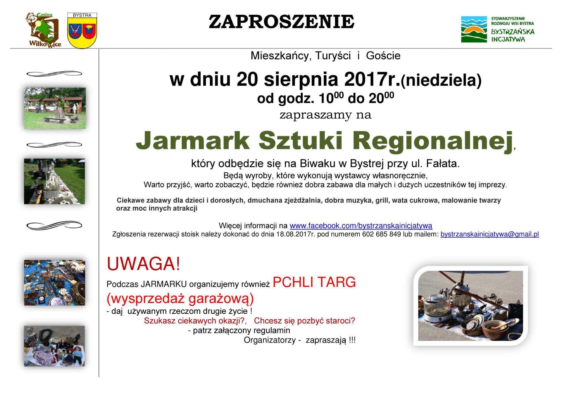 Jarmark Sztuki Regionalnej 20 sierpnia 2017r.(Niedziela)